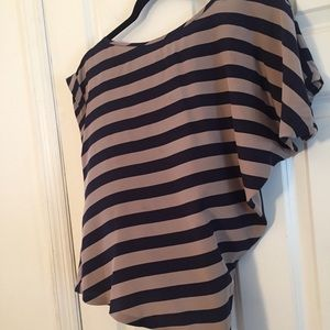 BCBGMaxAzria Striped Silk Asymmetric Top Sz XS